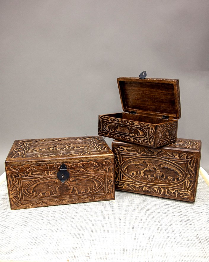 Hand Carved Wood Elephant Box